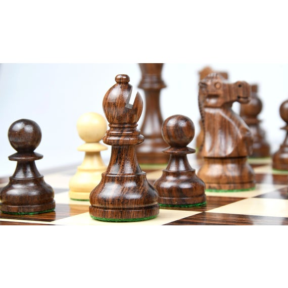 """19th Century Classic Series Chess Pieces in Ebonized Boxwood & Natural Boxwood - 4.0"""" King"""